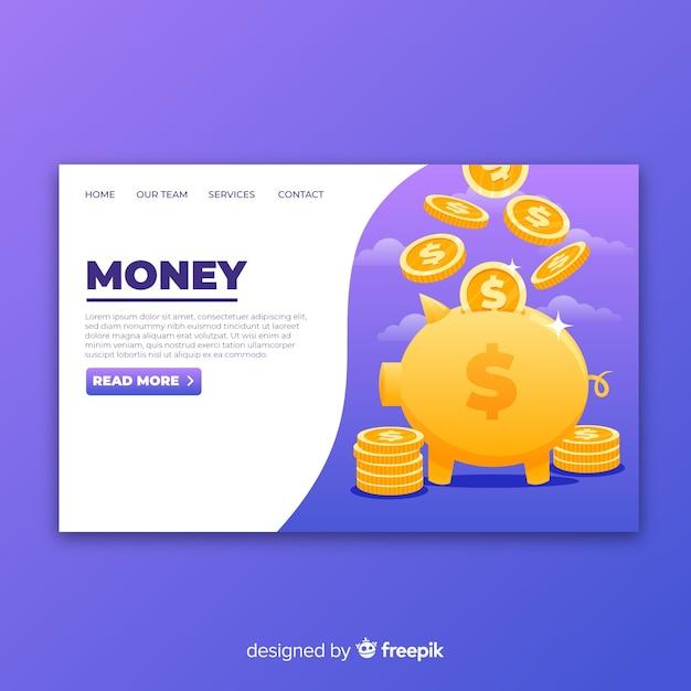 Page de destination de l'argent Vecteur gratuit