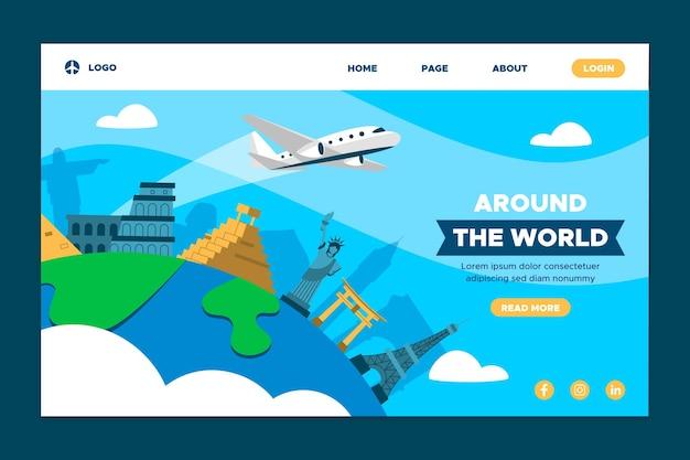 Page De Destination Autour Du Monde Vecteur gratuit