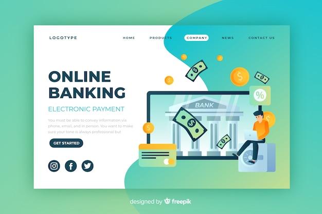 Page de destination bancaire en ligne Vecteur gratuit