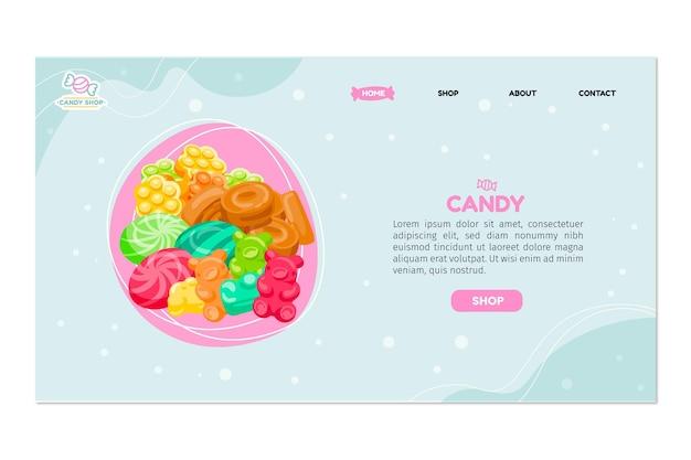 Page De Destination De La Boutique De Bonbons Vecteur Premium
