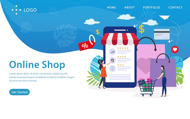 Page de destination de la boutique en ligne, modèle de site web, facile à modifier et à personnaliser, illustration vectorielle Vecteur Premium