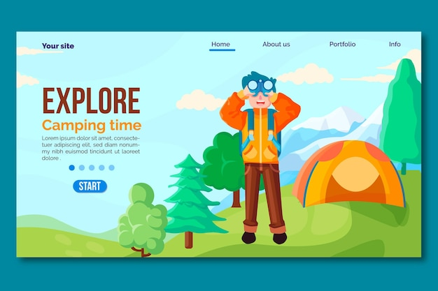 Page De Destination De Camping Design Plat Avec Tente Et Homme Vecteur gratuit