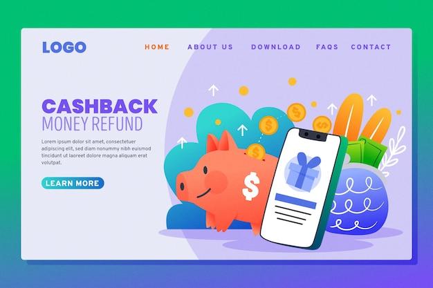 Page De Destination De Cashback Et Tirelire Vecteur gratuit