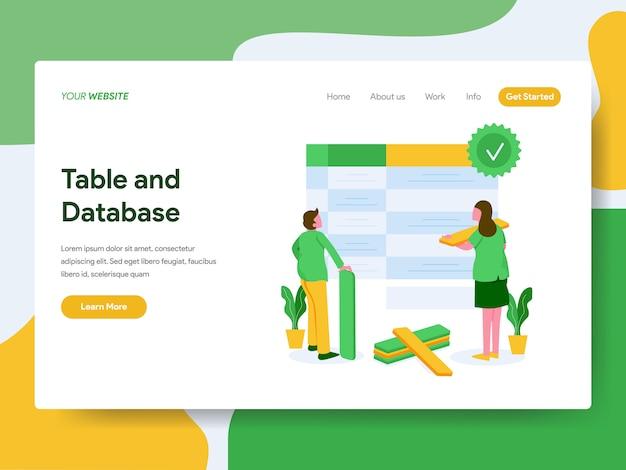 Page de destination. concept d'illustration de table et de base de données Vecteur Premium