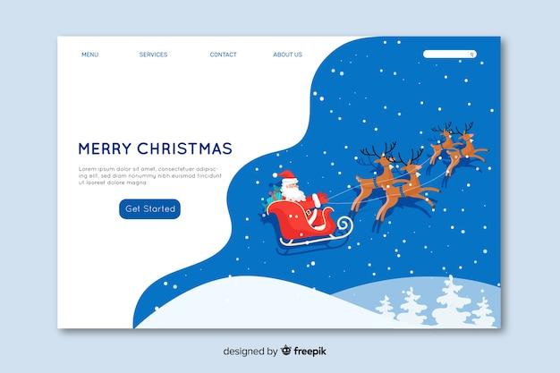 Page de destination concept noël design plat Vecteur gratuit