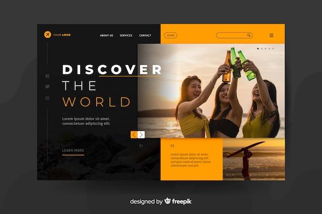 Page de destination avec concept photo Vecteur gratuit