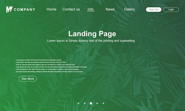 Page de destination conception avec fond de nature verte Vecteur Premium