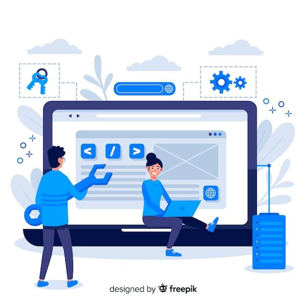 Page De Destination De Configuration Du Site Web Concept Vecteur gratuit