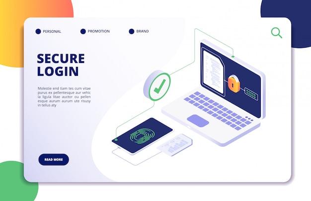 Page De Destination De Connexion Sécurisée Vecteur Premium