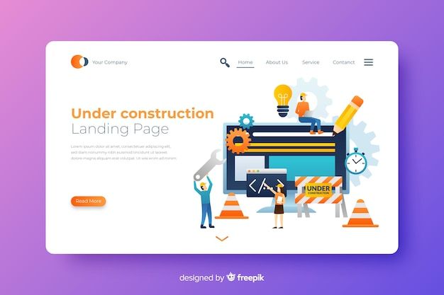 Page de destination en construction Vecteur gratuit