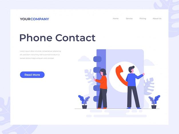 Page de destination des contacts téléphoniques Vecteur Premium