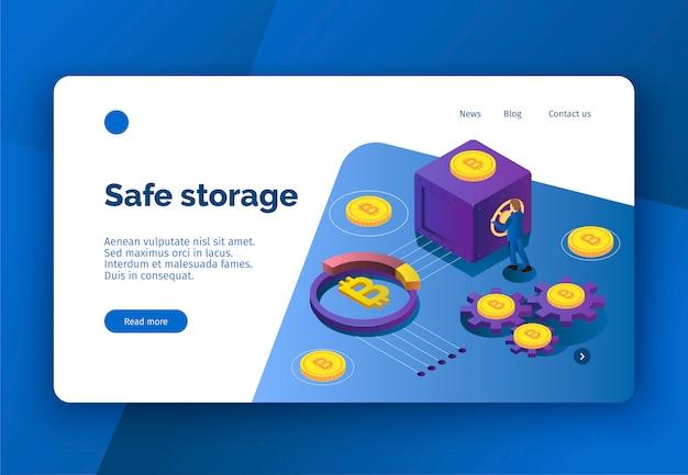 Page De Destination De Crypto-monnaie Isométrique Avec Des Bitcoins Et Une Personne Ouvrant Une Illustration Vectorielle 3d Sûre Vecteur gratuit