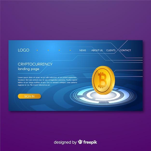 Page de destination de crypto-monnaie Vecteur gratuit