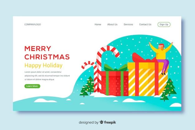 Page de destination design noël Vecteur gratuit