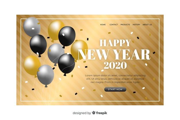 Page de destination design plat nouvel an Vecteur gratuit
