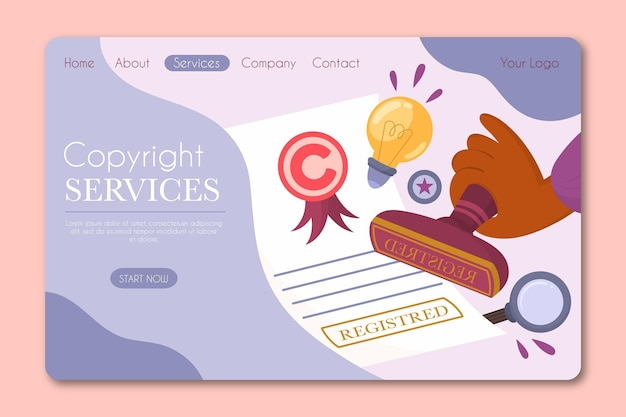 Page De Destination Des Droits D'auteur Vecteur gratuit