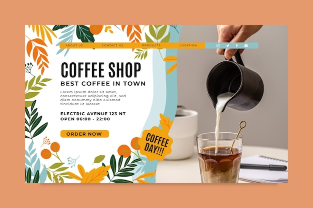 Page De Destination Du Café Vecteur gratuit