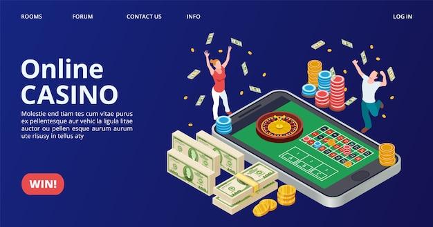 Page De Destination Du Casino. Casino En Ligne Isométrique, Jeu, Vecteur De Roulette. Concept Gagnant Chanceux Vecteur Premium
