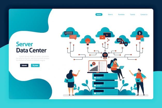 Page De Destination Du Centre De Données Du Serveur Vecteur Premium