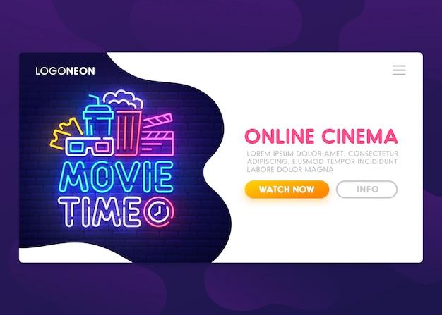 Page De Destination Du Cinéma En Ligne Vecteur Premium