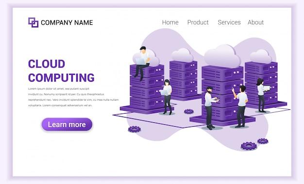 Page De Destination Du Cloud Computing Vecteur Premium