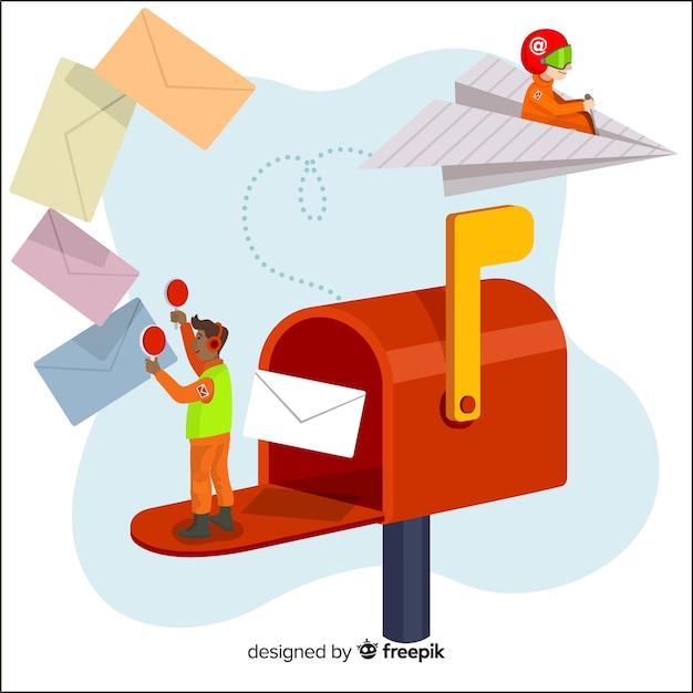 Page de destination du concept de boîte aux lettres Vecteur gratuit