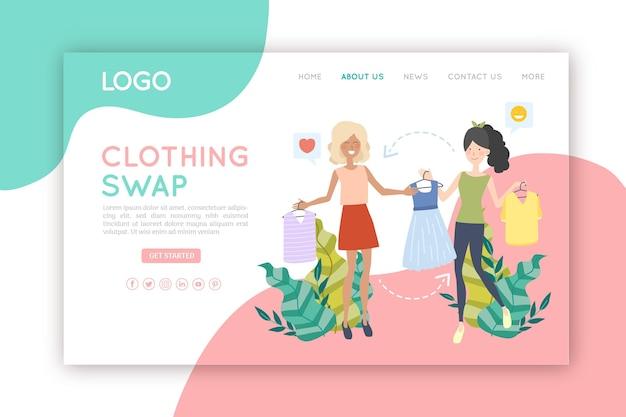 Page De Destination Du Concept D'échange De Vêtements Vecteur gratuit