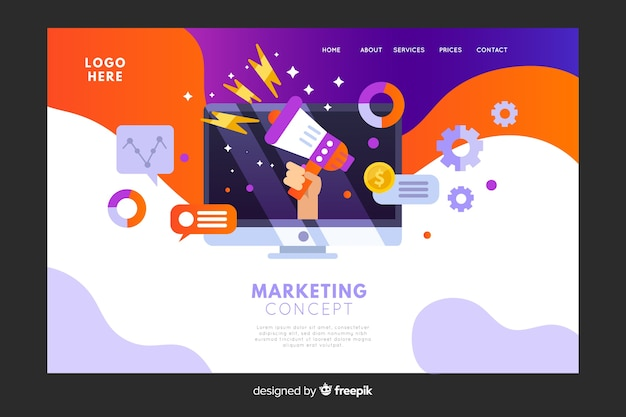 Page de destination du concept marketing Vecteur gratuit