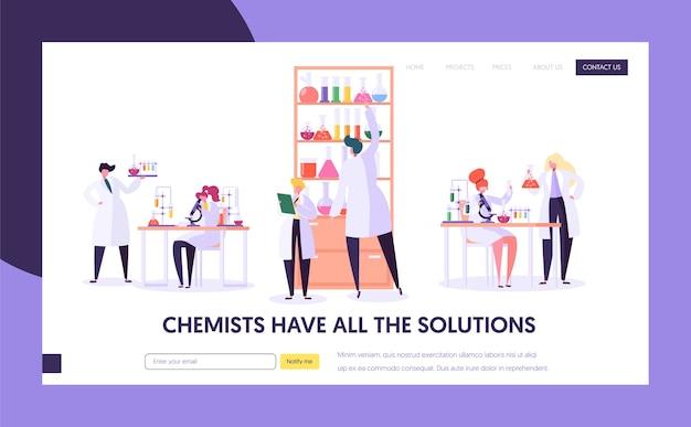 Page De Destination Du Concept De Recherche En Laboratoire Pharmaceutique. Vecteur Premium