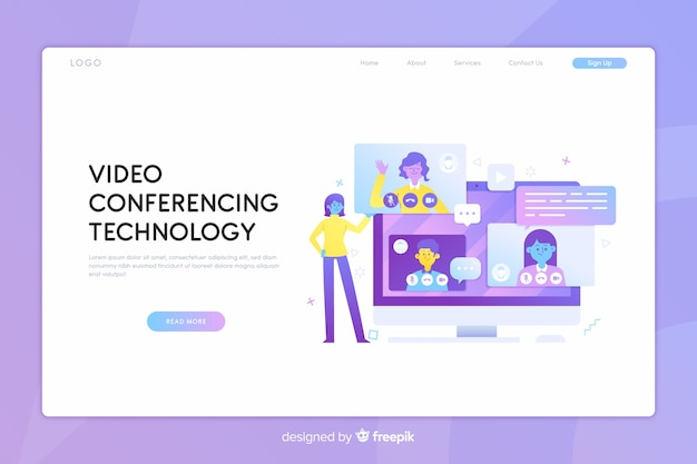 Page de destination du concept de vidéoconférence Vecteur gratuit