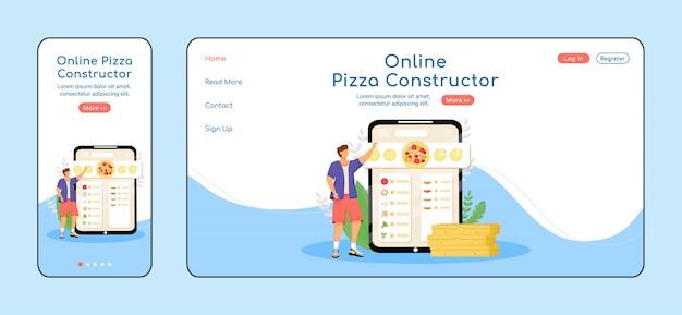 Page De Destination Du Constructeur De Pizza Vecteur Premium