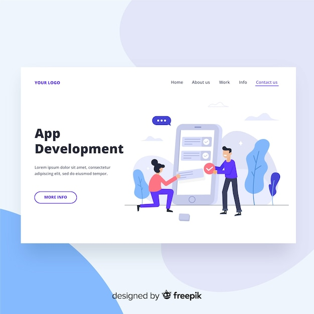 Page de destination du développement d'applications Vecteur gratuit