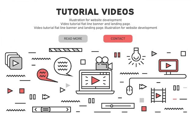 Page de destination du didacticiel vidéo Vecteur Premium
