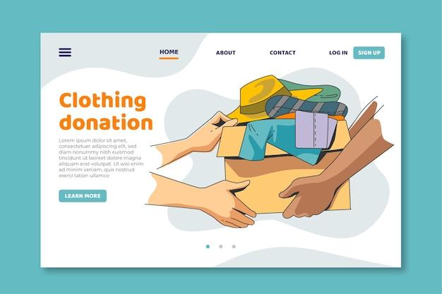 Page De Destination Du Don De Vêtements Vecteur gratuit