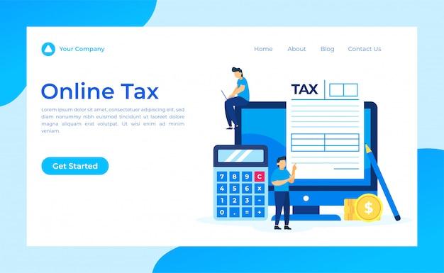 Page de destination du formulaire de taxe en ligne Vecteur Premium