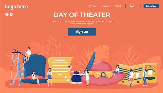 Page De Destination Du Jour Du Théâtre Vecteur Premium
