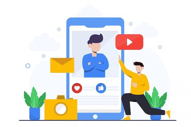 Page De Destination Du Marketing Mobile Vecteur Premium
