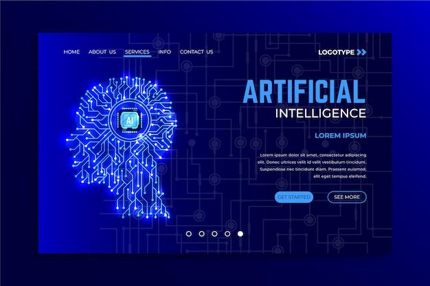 Page de destination du modèle d'intelligence artificielle Vecteur gratuit