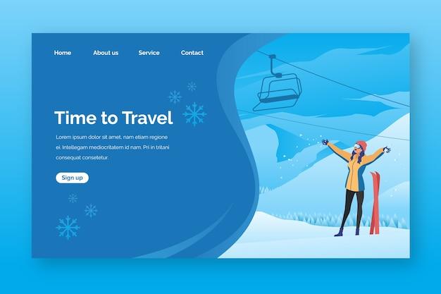 Page de destination du modèle de voyage Vecteur gratuit