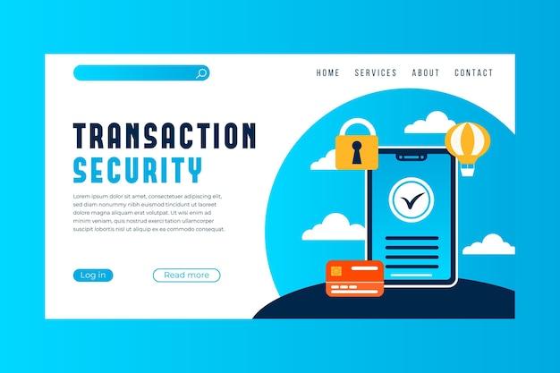 Page De Destination Du Paiement De Sécurité Des Transactions Vecteur gratuit