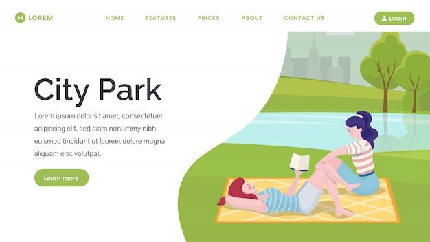 Page De Destination Du Parc De La Ville Vecteur Premium