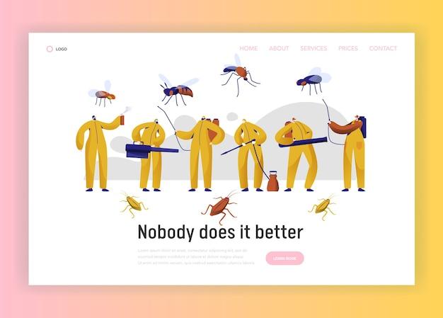 Page De Destination Du Personnage Professionnel De Lutte Antiparasitaire Contre Les Moustiques. Homme En Uniforme Lutte Avec Insecte. Service De Désinfection Des Cafards Avec Site Web Ou Page Web De Fumigation Toxique. Illustration Vectorielle De Dessin Animé Plat Vecteur Premium