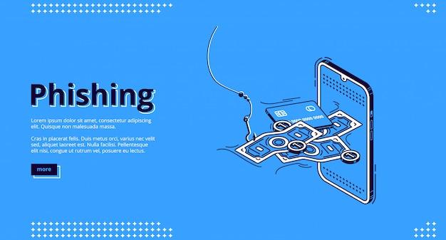 Page De Destination Du Phishing. Données Personnelles Sur Le Vol Frauduleux Vecteur gratuit