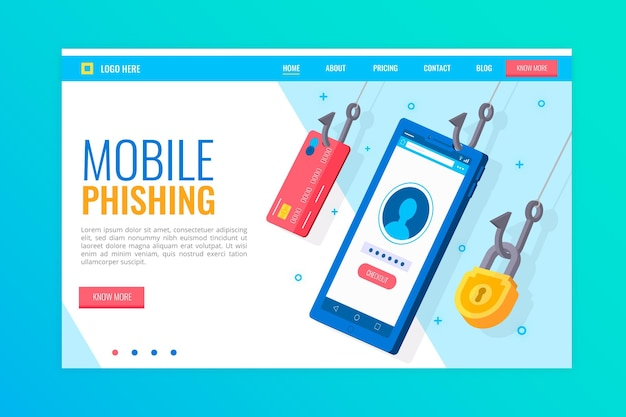 Page De Destination Du Phishing Mobile Vecteur gratuit