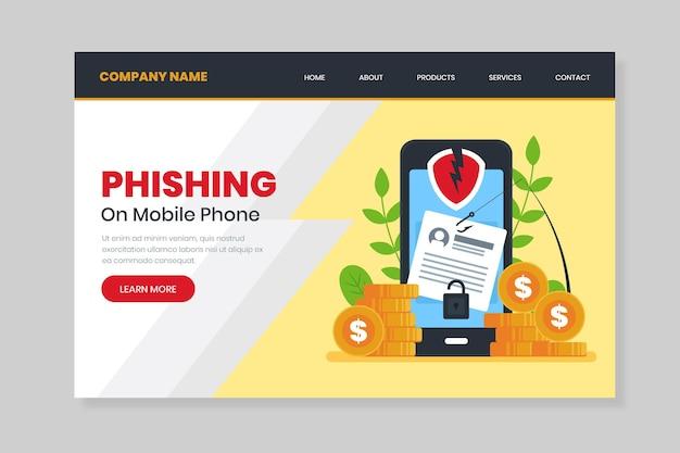 Page De Destination Du Phishing Sur Smartphone Vecteur gratuit