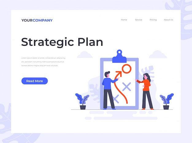 Page De Destination Du Plan Stratégique Vecteur Premium