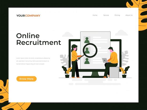 Page de destination du recrutement en ligne Vecteur Premium