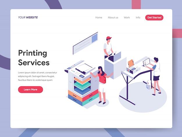 Page de destination du service d'impression Vecteur Premium
