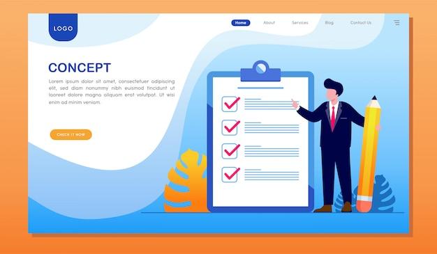 Page de destination du site cible de la liste de contrôle du concept Vecteur Premium