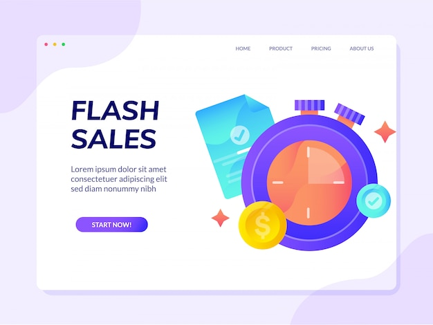 Page de destination du site de ventes flash Vecteur Premium